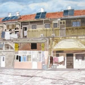"""בתי הונגרים, מאה שערים - יהודיין שלמה, 1997, צבעי מיים על נייר, 50X70 ס""""מ"""