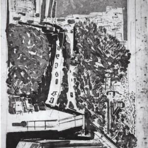 שד' בן-צבי - קלפיש ליליאן, 1987, אקווטינטת סוכר על נייר, 76x105