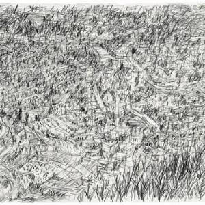 נוף בהרי ירושלים - בן- שאול דבורה, 2006, עפרון על נייר, 70x50