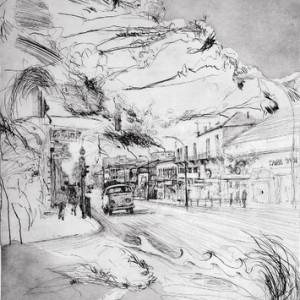 רחוב יפו - שוובל איבן, 1990, תצריב ואקווטינטה על נייר, 76x105
