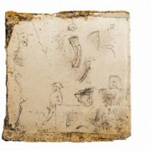 התעודה האחרונה - סלמה מני, 2006, עפרונות על אריחי אמבט, 18x18