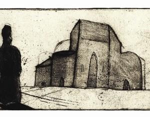 """מס 6 מתוך סדרת """"כל האבנים האלה 8-1"""" (ספר אמן) - ארנוביץ אנדי, 2008, תצריב, אקווטינט, אקווטינטת סוכר ותחריט יבש על נייר, 17.5x7.5"""