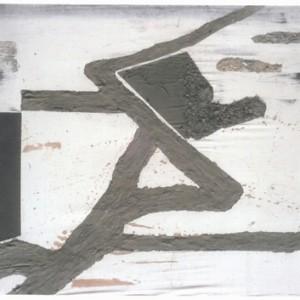 ירושלים בשנת שלושת אלפים - ירדני יחזקאל, 2000,  ציור בבטון צבוע אקריליק ואבני חצץ על בד משי, 175x170