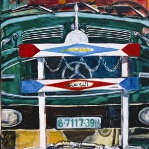 המשאית של מוחמד - קמפל דבי, 2003, שמן על בד, 80x90