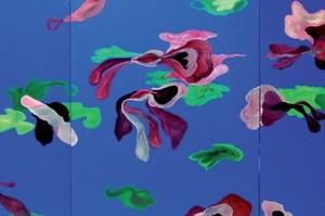 """מירי אור, גן עדן 3 2008, צבע תעשייתי על בד 300X120 ס""""מ"""