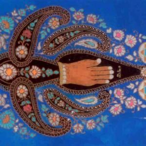 """דוד אל-קיים, פרחי שמירה, כתיבה וציור במהופך על גבי זכוכית ,צבעי זהב, כסף, ברונזה וצבעי אקריל, 55*40 ס""""מ"""