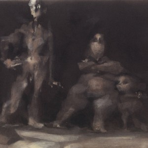 יוסף הירש, אב, אם וילד, נייר צבע בדיות שחורה, מצויר בדיות לבנה מגוונת, 24.9X17