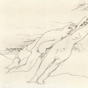 יוסף הירש, אהבת זקונים, לפני 1957, דיות על נייר, 35X25.5