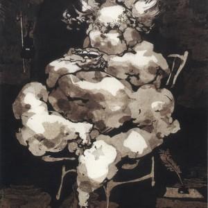 יוסף הירש, משורר מודרני, דיות בטכניקת היפוך בגומי ערביקום, 23.8X32