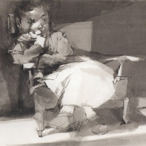 יוסף הירש, נערה מהורהרת, 1980, גרפיט ודיות, 44X27