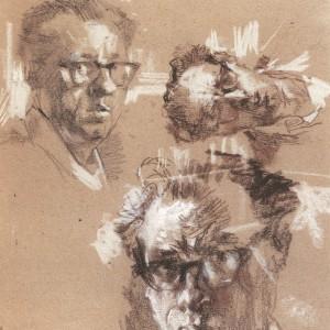 יוסף הירש, שנות ה-50, גרפיט, גיר שחור, גיר חום אומברה, גיר חום בהיר וגיר לבן על קרטון חום, 35X50