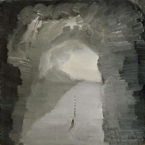 Ronen Siman-Tov, The cave Surveyor, 2011, oil on canvas, 40*40 cm