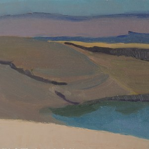 Judith Appleton, The Dead Sea (colored), 2014, oil on paper mounted on wood, 22.5X25.5 cm