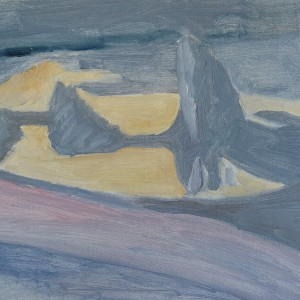 Judith Appleton, Double Iceberg , 2012, oil on paper mounted on wood,  32.25X27.75 cm