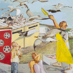 Alma Itzhaky, Feeding the Birds, 2016, oil on canvas, 160X200 cm