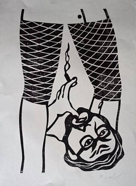 To an Over Understanding - A View from Below, 1972, woodcut, 59.5x39 cm, photo-Ran Erde