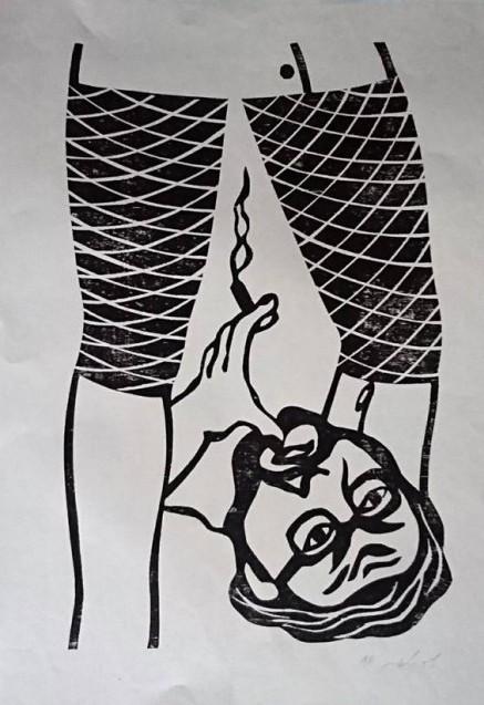 להבנת יתר - מראה מלמטה, 1972, חיתוך עץ, צילום-רן ארדה