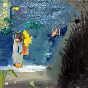 Michal Orgil, Aquarium, 2015-2018, mixed media on canvas