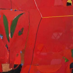 יערה אורן, כדים באדום, 2018, שמן על בד