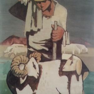 Leo Roth, (1914-2002), Shepherd, 1964, oil on wood, Ziva and Eli Madjar Collection, Tel Aviv