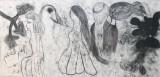 מריה סאלח מחאמיד, אום אל פחם, 2016, פחם על בד, 210X450 סמ Maria Saleh Mahameed, Umm al-Fahm, 2016, Coal on canvas, 210x450 cm