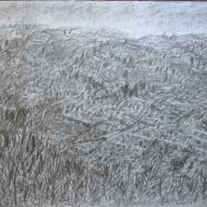 נוף בהרי יהודה, רישום עפרון 2005