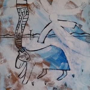 """משה היימין, סיפור של נשמה אחת, 2018, אקריל על דיקט, 33X46 ס""""מ"""