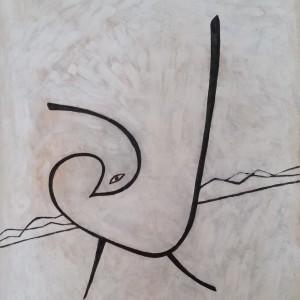 """משה היימין, ציפור, 2015, אקריל על בד, 70X100 ס""""מ"""