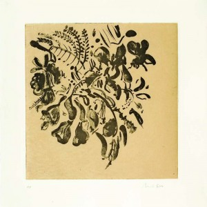 Early Green Leaves, 2007, Etching Sugar Lift and Chine Colle, 45x45 cm
