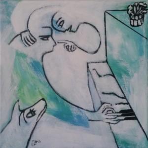 """משה היימין, שיעור, 2017, אקריל על בד, 20X20 ס""""מ"""