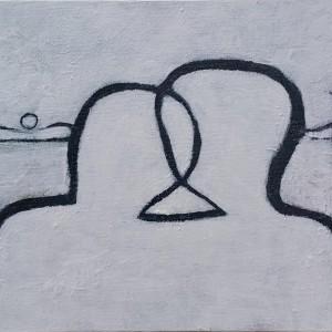 """משה היימין, זריחה, 2018, אקריל על דיקט, 30X20 ס""""מ"""