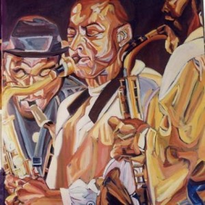 James Carter and friends , 2000 Oil on Canvas