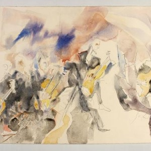 Bach on Guitar , 2003 watercolor 56 x 76 cm