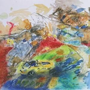 מתוך הסדרה - מכונית צעצוע על בד פסים, 2006 פסטל וצבעי מים על נייר 39X40 סמ