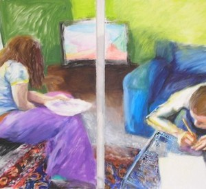 The Living Room - Revital Nava, 2006, Oil on canvas, 80 X 70 cm