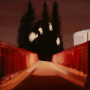 Bridge with Cypresses - Charuvi Noa, 2004, Oil on canvas, 100X80 cm