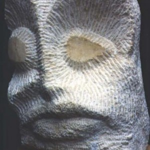 Owl Face, 1988 Jerusalem chalk stone, Hand carved 30/40/50