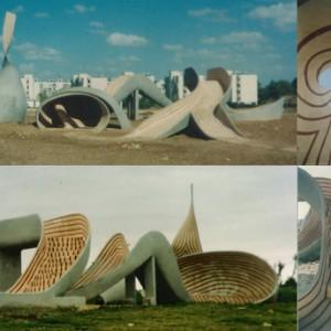 Sculpture in Kiriat Gat , 1994 Reinforced concrete and color 13 X 15 X 6 m.