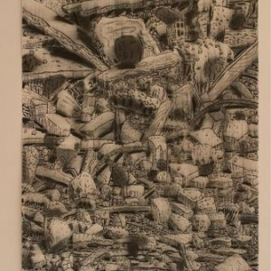 Larry Abramson, Rechavia XII, 2002, charcoal on paper 174x115
