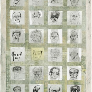 Avishay Ayal, The Double Dozen No. 1, 2006, uni-ball pen and acrylic on stickers, collage, monoprint and gouache on paper 76x56