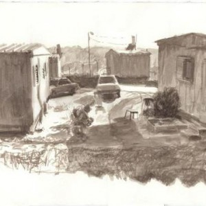 Nechemia Bezzubov, Outpost, 2004, watercolor on paper 72X51