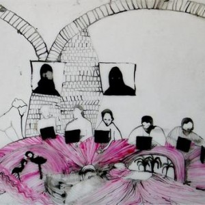 Ofri Cnaani, Before Action, 2006, ink on Mylar paper 61x92