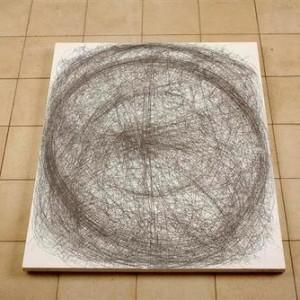 מיכל גלבוע-דוד, אופקים 1, 2004, עפרון על אבן אורתודנטית לבנה 67X83