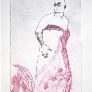 Miri Grossman, Lady with Wide Shoulders, 2007, dry etching 55x35