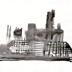 Ra'anan Harlap, Building Site, 2007, ink on paper 57X75