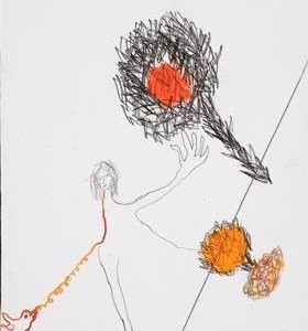 Elen Hasidim-Rom, Where are you Angel Gabriel?, 2004, watercolor and pencil on paper 34x25