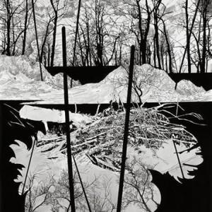 Yehudit Sasportas, Transmition Time, 2006, ink on paper 200X150