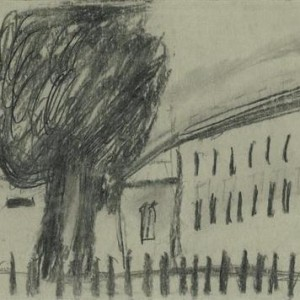 כרמלה קלעי, נוף, 2004, פחם על נייר 24X34