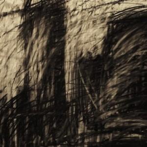 אלכס קרמר, תל אביב, 2007, פחם על נייר 70X50