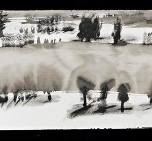 Shir Shvadron, Landscape, 2005, ink on paper 41.5 X80